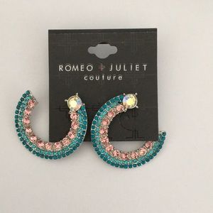 New Romeo & Juliet Half Moon Crystal & Beaded Earr